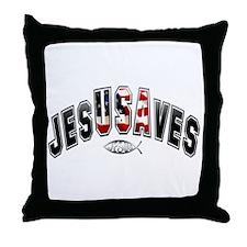 USA Jesus Throw Pillow