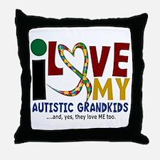 I Love My Autistic Grandkids 2 Throw Pillow