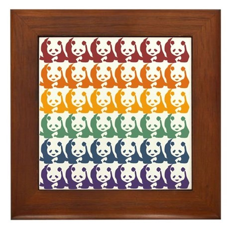 Rainbow Pandas Framed Tile