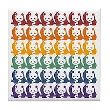 Rainbow Pandas Tile Coaster
