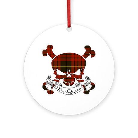 MacQueen Tartan Skull Ornament (Round)