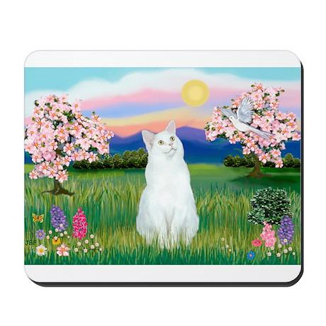 Blossoms / (White) Cat Mousepad