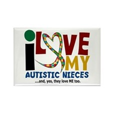 I Love My Autistic Nieces 2 Rectangle Magnet