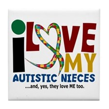 I Love My Autistic Nieces 2 Tile Coaster