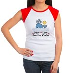 Peace Love Save The Whales Cap Sleeve Tee Shirt
