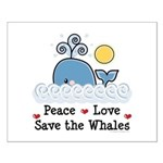 Peace Love Save The Whales Small Poster