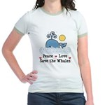 Peace Love Save The Whales Jr. Ringer T-Shirt