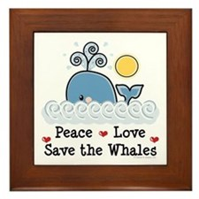 Peace Love Save The Whales Framed Tile