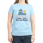 Peace Love Save The Whales Women's Light T-Shirt