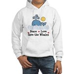 Peace Love Save The Whales Hooded Sweatshirt