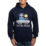 Peace Love Save The Whales Hoodie (dark)
