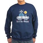 Peace Love Save The Whales Sweatshirt (dark)