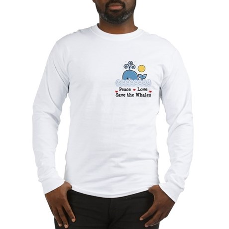 Peace Love Save The Whales Long Sleeve T-Shirt