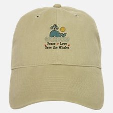 Peace Love Save The Whales Baseball Baseball Cap