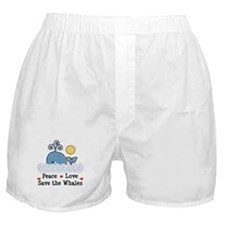 Peace Love Save The Whales Boxer Shorts