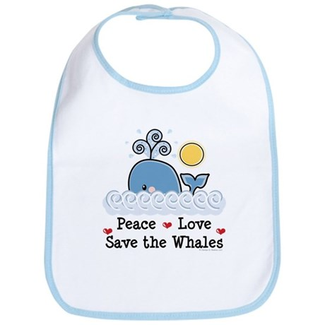Peace Love Save The Whales Bib