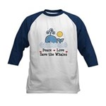 Peace Love Save The Whales Kids Baseball Jersey