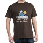 Peace Love Save The Whales Dark T-Shirt