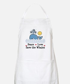 Peace Love Save The Whales BBQ Apron