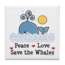 Peace Love Save The Whales Tile Coaster