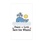 Peace Love Save The Whales Sticker Rectangle 10 pk