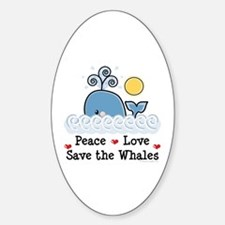 Peace Love Save The Whales Oval Decal