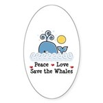 Peace Love Save The Whales Oval Sticker (10 pk)
