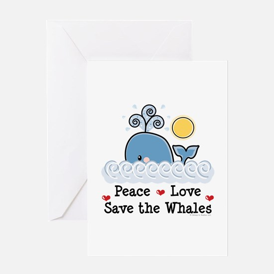 Peace Love Save The Whales Greeting Card