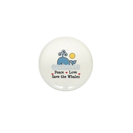 Peace Love Save The Whales Mini Button (10 pack)