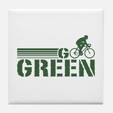 Go Green Cycling (male) Tile Coaster