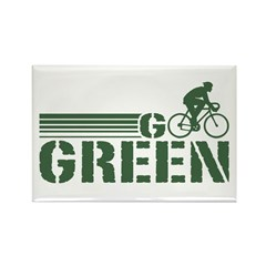 Go Green Cycling (male) Rectangle Magnet