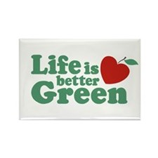 Life is Better Green Rectangle Magnet