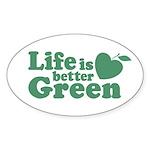 Life is Better Green Oval Sticker (10 pk)