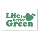 Life is Better Green Rectangle Sticker 10 pk)