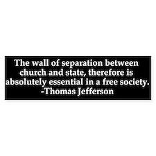 Separation of Church and State Bumper Bumper Sticker