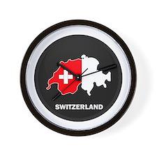 Flag Map of Switzerland Wall Clock