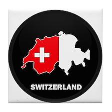 Flag Map of Switzerland Tile Coaster