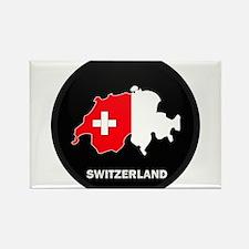 Flag Map of Switzerland Rectangle Magnet