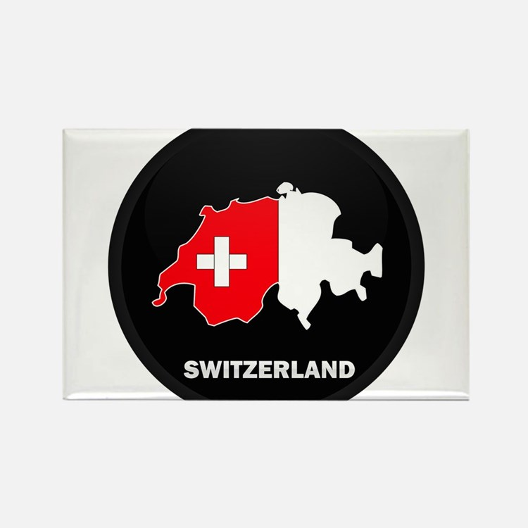 Flag Map of Switzerland Rectangle Magnet