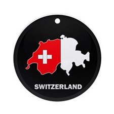 Flag Map of Switzerland Ornament (Round)