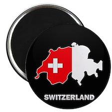 Flag Map of Switzerland Magnet