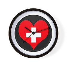 I love Switzerland Flag Wall Clock