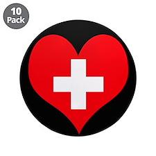 "I love Switzerland Flag 3.5"" Button (10 pack)"