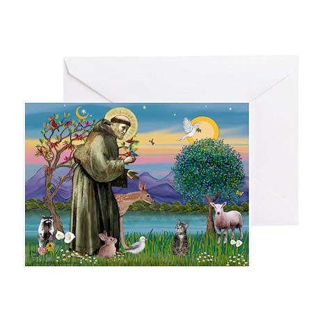 St Francis / Tab Tiger Cat Greeting Cards (Pk of 1
