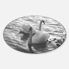 Two Swans Oval Decal