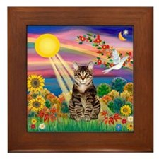 Autumn Sun / Tab Tiger Cat Framed Tile