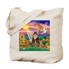 Autumn Sun / Tab Tiger Cat Tote Bag