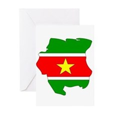 suriname Flag Map Greeting Card
