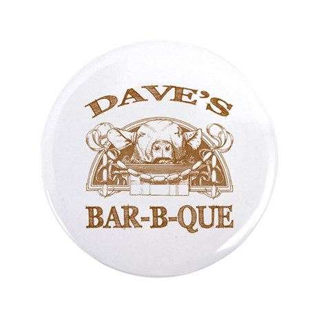 "Dave's Personalized Name Vintage BBQ 3.5"" Button"