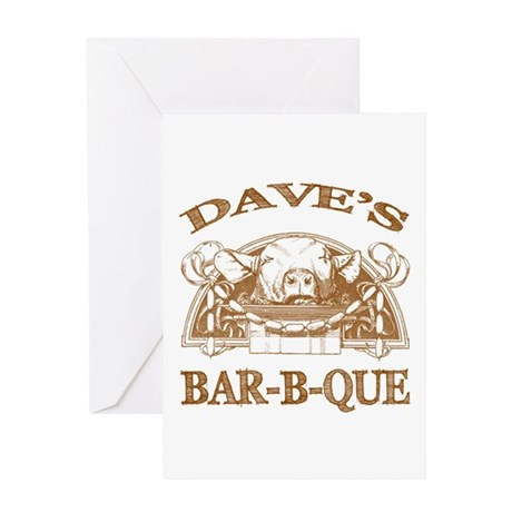Dave's Personalized Name Vintage BBQ Greeting Card